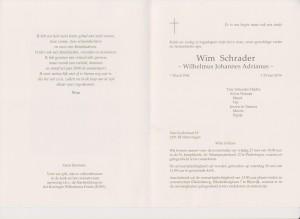 Rouwkaart Wim Schrader